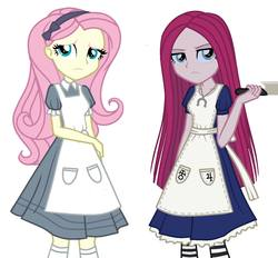 Size: 1500x1392 | Tagged: safe, artist:tonecolour12, fluttershy, pinkie pie, equestria girls, alice, alice madness returns, american mcgee's alice, clothes, cosplay, costume, dress, knife, pinkamena diane pie, vorpal blade