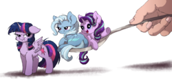 Size: 1800x888 | Tagged: safe, artist:buttersprinkle, starlight glimmer, trixie, twilight sparkle, alicorn, human, pony, unicorn, :t, angry, buttersprinkle is trying to murder us, cheek fluff, chest fluff, cute, diatrixes, female, floppy ears, fluffy, frown, glare, glimmerbetes, grumpy, hand, horse spooning meme, in goliath's palm, lidded eyes, looking at you, looking back, mare, meme, micro, offscreen character, open mouth, prone, puffy cheeks, raised hoof, scrunchy face, simple background, size difference, smiling, smirk, spoon, spread wings, tiny, tiny ponies, twiabetes, twilight is not amused, twilight sparkle (alicorn), unamused, underhoof, waving, weapons-grade cute, white background, wing fluff
