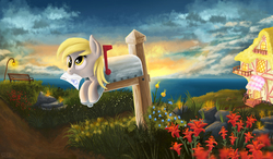 Size: 2678x1567   Tagged: safe, artist:atlas-66, derpy hooves, pegasus, pony, bench, cloud, cute, derpabetes, derpy inside a mailbox, female, flower, letter, mailbox, mare, mouth hold, ocean, solo, water
