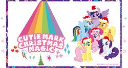 Size: 674x360   Tagged: safe, applejack, fluttershy, pinkie pie, rainbow dash, rarity, twilight sparkle, alicorn, pony, equestria daily, official, christmas, christmas tree, cutie mark, hat, japan, mane six, rainbow colors, santa hat, tree, twilight sparkle (alicorn), vector