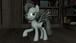 Size: 1280x720 | Tagged: 3d, artist:zeb, book, bookshelf, concept, derpibooru exclusive, lidded eyes, looking at you, oc, oc:noir, oc only, open mouth, pegasus, pony, raised hoof, safe, smiling, solo, source filmmaker, spread wings