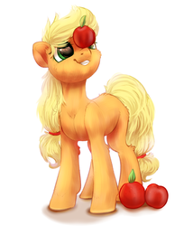 Size: 1800x2100 | Tagged: safe, artist:peachmayflower, applejack, pony, apple, blank flank, cute, female, food, hatless, jackabetes, missing accessory, simple background, smiling, solo, that pony sure does love apples, white background, younger