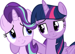 Size: 6001x4400 | Tagged: safe, artist:deratrox, starlight glimmer, twilight sparkle, alicorn, pony, unicorn, to where and back again, .svg available, absurd resolution, cute, duo, female, glimmerbetes, hug, looking at each other, mare, raised hoof, simple background, transparent background, twiabetes, twilight sparkle (alicorn), vector