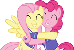 Size: 6001x4066 | Tagged: safe, artist:deratrox, fluttershy, pinkie pie, buckball season, .svg available, absurd resolution, cute, diapinkes, duo, hug, shyabetes, simple background, transparent background, vector
