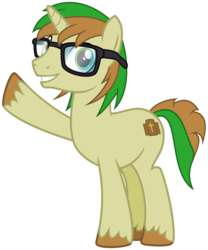 Size: 2500x3000   Tagged: safe, artist:cheezedoodle96, derpibooru exclusive, oc, oc only, oc:zeb, pony, unicorn, 2017 community collab, derpibooru community collaboration, .svg available, glasses, grin, looking at you, male, simple background, smiling, solo, stallion, svg, transparent background, unshorn fetlocks, vector, waving