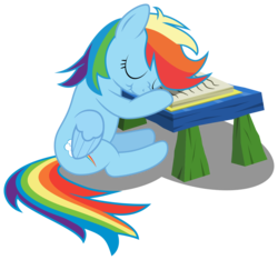 Size: 1294x1213 | Tagged: safe, artist:rotate13, rainbow dash, .svg available, book, cute, desk, female, scrunchy face, simple background, sleeping, sleeping in class, solo, transparent background, vector