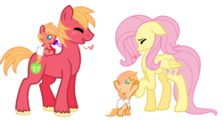 Size: 1024x559 | Tagged: safe, artist:theponythatdraws, big macintosh, fluttershy, oc, pony, baby, baby pony, bipedal, bipedal leaning, family, fluttermac, heart, leaning, male, offspring, pacifier, parent:big macintosh, parent:fluttershy, parents:fluttermac, shipping, simple background, straight, white background