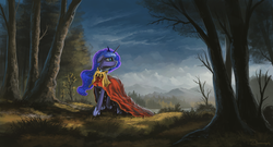 Size: 2000x1081 | Tagged: dead source, safe, artist:shamanguli, princess luna, pony, cloak, clothes, female, forest, looking away, looking up, mountain, scenery, scenery porn, solo, tree