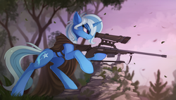 Size: 1900x1077 | Tagged: safe, artist:yakovlev-vad, trixie, pony, unicorn, butt fluff, cape, clothes, cutie mark, ear fluff, female, fluffy, gun, hooves, horn, leg fluff, mare, optical sight, rifle, scenery, sniper rifle, solo, tree, weapon
