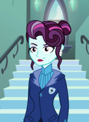 Size: 984x1354 | Tagged: artist needed, safe, principal abacus cinch, equestria girls, abacus cinch through the years, alternate hairstyle, crystal prep academy, missing accessory, no glasses, solo, younger, younger cinch