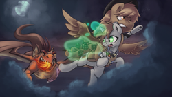 Size: 1920x1080 | Tagged: safe, artist:darksittich, oc, oc only, oc:calamity, oc:littlepip, oc:mister topaz, dragon, pegasus, pony, unicorn, fallout equestria, battle saddle, clothes, cloud, cutie mark, dashite, dragon wings, fanfic, fanfic art, fangs, female, fire, flying, glowing horn, grenade, gun, hat, hooves, horn, levitation, magic, male, mare, moon, open mouth, pipbuck, rifle, saddle bag, spread wings, stallion, teeth, telekinesis, this will end in explosions, vault suit, weapon, wings