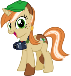 Size: 2800x3000 | Tagged: safe, artist:cheezedoodle96, oc, oc only, oc:paige turner, pony, unicorn, 2017 community collab, derpibooru community collaboration, .svg available, camera, female, flat cap, freckles, hat, looking at you, mare, newsboy hat, simple background, solo, svg, transparent background, vector