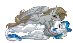 Size: 6000x3545 | Tagged: safe, artist:amazing-artsong, oc, oc only, oc:digital dusk, oc:star seeker, hippogriff, pegasus, pony, absurd resolution, cpr, female, kissing, male, mare, simple background, stallion, straight, transparent background