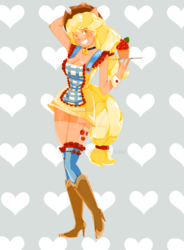 Size: 1024x1395 | Tagged: safe, artist:lyhanna097, applejack, human, bell, bell collar, boots, cat bell, clothes, collar, cupcake, eared humanization, female, food, grin, heart, humanized, maid, pony coloring, smiling, socks, solo, tailed humanization, tray, watermark