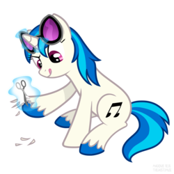 Size: 1500x1500 | Tagged: artist:ghostlymuse, bigender, colored hooves, dj pon-3, female, glowing horn, hooves, horn, levitation, magic, mare, pony, safe, scissors, simple background, sitting, solo, sunglasses, telekinesis, tongue out, transparent background, unicorn, unshorn fetlocks, vinyl scratch