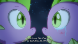 Size: 758x427   Tagged: safe, artist:chiptunebrony, screencap, spike, dragon, anime, baby, baby dragon, barb, barbabetes, blurry, crying, cute, dark background, ending, expression, fake screencap, farewell, female, finale, glow, male, romantic, rule 63, rule63betes, sad, sapphire, self ponidox, selfcest, shards, shipping, spikebarb, stars, straight, subtitles