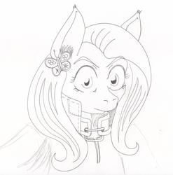 Size: 2432x2458 | Tagged: anthro, armor, artist:ciaran, bust, cloak, clothes, cutie mark accessory, derpibooru exclusive, ear piercing, earring, fluttershy, jewelry, looking at you, piercing, portrait, safe, simple background, sketch, solo, thousand yard stare, traditional art