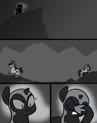 Size: 666x842 | Tagged: safe, artist:egophiliac, nightmare moon, oc, oc:cupcake crumbles, oc:sparkleheart, bat pony, pony, moonstuck, cartographer's cap, cliff, comic, dark woona, didn't think this through, facehoof, filly, grayscale, hat, monochrome, nightmare woon