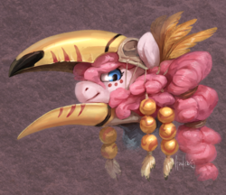 Size: 2190x1889 | Tagged: safe, artist:audrarius, pinkie pie, earth pony, pony, toco toucan, toucan, beak, bust, face paint, feather, female, hair beads, hair tie, headdress, helmet, part of a set, portrait, purple background, simple background, skull, skull helmet, solo, tribal