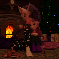 Size: 1500x1500 | Tagged: safe, artist:tahublade7, rarity, sweetie belle, anthro, plantigrade anthro, 3d, barefoot, blanket, chocolate, christmas, christmas tree, clothes, cuddling, cute, daz studio, feet, female, fireplace, food, hot chocolate, macaroons, mug, pants, pullover, sibling love, siblings, sisterly love, sisters, snuggling, socks, sweater, toes, tree