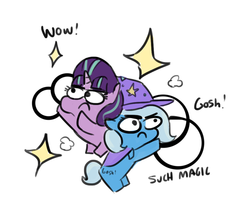 Size: 935x807 | Tagged: safe, artist:tjpones, starlight glimmer, trixie, pony, unicorn, :c, >:c, bipedal, chibi, colored sketch, crossing the memes, doge, female, frown, glare, gosh, gosh! trixie, hoof hold, magic, mare, meme, simple background, sketch, sparkles, trixie's cape, trixie's hat, white background, wow, wow! glimmer
