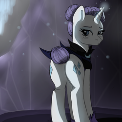 Size: 1000x1000 | Tagged: safe, artist:chickenbrony, rarity, the cutie re-mark, alternate hairstyle, alternate timeline, alternate universe, armor, blushing, both cutie marks, clothes, eyeshadow, female, looking back, makeup, night maid rarity, nightmare takeover timeline, outfit, plot, simple background, solo