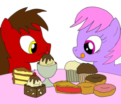 Size: 1400x1200 | Tagged: safe, artist:toyminator900, oc, oc only, oc:chip, oc:melody notes, cake, dessert, donut, duo, food, fudge, muffin, pie, sundae