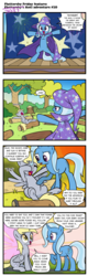 Size: 615x1920 | Tagged: safe, artist:pencils, derpy hooves, trixie, pegasus, pony, unicorn, comic:fluttershy's anti-adventures, comic:trixie's anti-adventures, bipedal, comic, cute, derpabetes, dialogue, diatrixes, eyes closed, female, frown, glare, heartwarming, log, mare, open mouth, pencils is trying to murder us, raised hoof, sigh, sitting, sleeping, slice of life, smiling, spread wings, sweet dreams fuel, trixie's cape, trixie's hat, unamused, underhoof, yawn