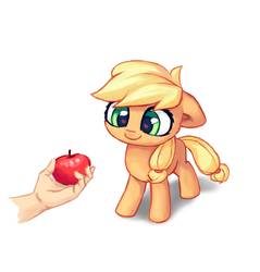 Size: 2171x2273 | Tagged: safe, artist:inowiseei, applejack, human, apple, cute, female, filly, floppy ears, food, heart eyes, jackabetes, offscreen character, offscreen human, part of a set, simple background, solo, that pony sure does love apples, white background, wingding eyes, younger