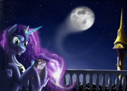 Size: 3500x2500 | Tagged: artist:pony-way, canterlot, castle, celestial mechanics, implied princess celestia, moon, moon work, night, princess luna, radio control, safe, solo