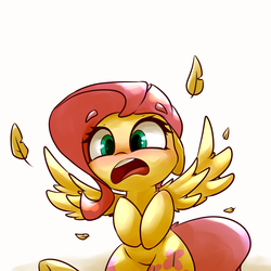 Size: 5000x5000   Tagged: safe, artist:luxaestas, fluttershy, pegasus, pony, absurd resolution, adorable distress, blushing, both cutie marks, cute, feather, female, flustered, flustershy, mare, open mouth, shyabetes, simple background, solo, spread wings, startled, white background