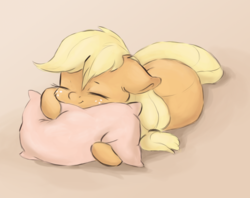 Size: 1689x1338   Tagged: safe, artist:buttersprinkle, applejack, earth pony, pony, buttersprinkle is trying to murder us, cheek fluff, cute, ear fluff, eyes closed, female, floppy ears, freckles, hug, jackabetes, pillow, pillow hug, sleeping, smiling, solo