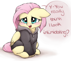 Size: 2000x1708 | Tagged: safe, artist:buttersprinkle, fluttershy, pegasus, pony, alternate hairstyle, blushing, bronybait, buttersprinkle is trying to murder us, clothes, cute, daaaaaaaaaaaw, dialogue, female, floppy ears, haircut, hnnng, hoodie, looking at you, mare, open mouth, shyabetes, simple background, sitting, smiling, solo, text, weapons-grade cute, white background