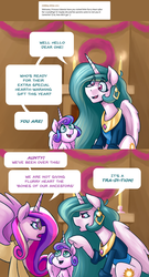 Size: 1080x1999 | Tagged: alternate hair color, argument, artist:romanrazor, blue-mane celestia, cadance is not amused, clothes, comic, ear piercing, earring, eye clipping through hair, eye contact, fluffy, frown, glare, glasses, good morning celestia, jewelry, looking at each other, open mouth, piercing, pointing, princess cadance, princess celestia, princess flurry heart, raised hoof, safe, sitting, smiling, underhoof