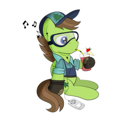 Size: 1588x1492 | Tagged: artist:coramino, cap, douglas spruce, drink, drinking, earbuds, evergreen, goggles, hat, ipod, mp3 player, pegasus, pony, relaxing, safe, simple background, smoothie, solo, transparent background