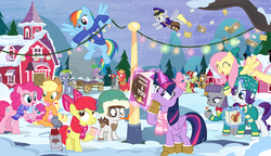 Size: 1600x919 | Tagged: safe, artist:pixelkitties, apple bloom, applejack, big macintosh, boulder (pet), cloudy quartz, derpy hooves, fluttershy, granny smith, igneous rock pie, limestone pie, marble pie, pinkie pie, pipsqueak, rainbow dash, rarity, spike, twilight sparkle, alicorn, pony, apple, apple pie, book, bow, chocolate, christmas, christmas card, christmas lights, christmas sweater, clothes, cutie mark, earmuffs, female, filly, flask, flying, food, hat, hearth's warming, holder's boulder, hot chocolate, magic, mail, mailmare, male, mane seven, mane six, marblemac, mug, pie, pie family, pie sisters, plushie, ponytones outfit, quartzrock, reading, rock, scarf, shipping, show accurate, snow, straight, sweater, sweatershy, sweet apple acres, telekinesis, the cmc's cutie marks, thermos, tongue stuck to pole, trailer, twilight sparkle (alicorn), wall of tags, winter, wonderbolts logo