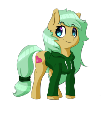 Size: 1449x1649 | Tagged: safe, artist:salamishowdown, oc, oc only, oc:blossom heart, earth pony, pony, 2017 community collab, derpibooru community collaboration, clothes, hoodie, simple background, smiling, solo, transparent background