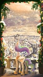 Size: 821x1476 | Tagged: safe, artist:plainoasis, princess celestia, balcony, canterlot, city, cityscape, female, mountain, rear view, scenery, snow, snowfall, solo, winter