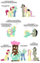 Size: 1280x2007 | Tagged: safe, artist:artbeta, discord, fluttershy, gentle breeze, posey shy, zephyr breeze, chocolate, chocolate rain, comic, deep breath, discoshy, female, fluttershy is not amused, food, male, overprotective, pony discord, rain, shipping, shys, straight, the shy family, unamused