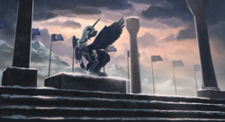 Size: 1870x1015 | Tagged: safe, artist:shamanguli, nightmare moon, princess luna, alicorn, pony, eyes closed, female, flag, hidden eyes, mountain, nightmare luna, rearing, scenery, snow, snowfall, solo, spread wings, statue, winter