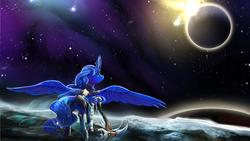 Size: 2400x1350 | Tagged: safe, artist:viwrastupr, princess luna, alicorn, pony, armor, crossover, female, levitation, looking up, magic, mare, moon, planet, scythe, scythe of elune, solo, space, spread wings, stars, telekinesis, warcraft, warrior luna, weapon, world of warcraft