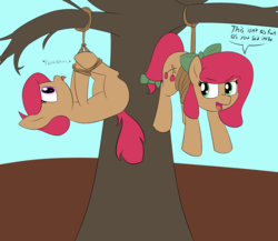 Size: 4096x3549 | Tagged: safe, artist:wenni, oc, oc only, oc:cherry sweetheart, oc:stella cherry, earth pony, pony, absurd resolution, blank flank, bondage, bow, dead tree, dialogue, duo, hair bow, hogtied, onomatopoeia, raspberry, rope, scolding, suspended, tail bow, tied up, tree, unsexy bondage, upside down