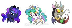 Size: 700x275 | Tagged: safe, artist:stepandy, discord, princess celestia, princess luna, alicorn, draconequus, pony, chibi, cloven hooves, crown, cute, cutelestia, discute, dislestia, fangs, female, jewelry, lidded eyes, looking at you, lunabetes, male, necklace, open mouth, regalia, royal sisters, shipping, signature, simple background, standing, straight, transparent background, trio, watermark