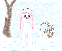 Size: 2022x1657   Tagged: safe, artist:charlemage, artist:jimmyjamno1, oc, oc only, bird, cardinal, coal, cute, hat, snow, snowfall, snowmare, snowpony, solo, tree branch