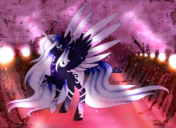 Size: 2074x1500   Tagged: safe, artist:minelvi, princess luna, alicorn, pony, alternate design, cherry blossoms, ethereal mane, female, flower, galaxy mane, hair over one eye, mare, peytral, rearing, signature, solo, tree