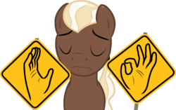 Size: 2174x1368 | Tagged: artist:badumsquish, derpibooru exclusive, eyes closed, female, goo pony, meme, oc, oc:chocolate medley, oc only, original species, pacha, pantomime, ponytail, pun, road sign, safe, sign language, simple background, solo, transparent background, visual pun, when x just right