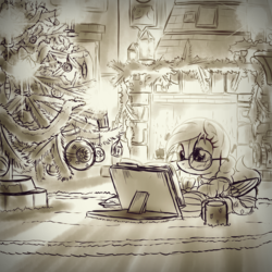Size: 2600x2600 | Tagged: safe, artist:ruhisu, oc, oc only, pegasus, pony, book, christmas, christmas tree, clothes, coffee, fireplace, glasses, monochrome, sketch, solo, sweater, tree, wip