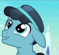 Size: 516x484 | Tagged: safe, screencap, crystal hoof, thorax, changeling, the times they are a changeling, crystal empire, cute, disguise, disguised changeling, floppy ears, lip bite, solo, thorabetes