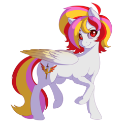 Size: 2000x2000 | Tagged: safe, artist:souladdicted, oc, oc only, oc:pepper doll, pegasus, pony, 2017 community collab, derpibooru community collaboration, colored wings, colored wingtips, female, looking at you, mare, multicolored hair, red eyes, simple background, smiling, solo, transparent background