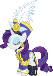 Size: 3001x4321   Tagged: safe, artist:cloudyglow, rarity, pony, unicorn, testing testing 1-2-3, .ai available, absurd resolution, ancient wonderbolts uniform, boots, clothes, eyes closed, female, hat, mare, sgt. rarity, shako, shoes, simple background, smiling, solo, transparent background, uniform, vector